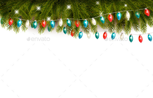 Christmas Background with Branches and a Garland - Seasons/Holidays Conceptual