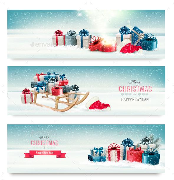 Three Christmas Banners with Presents and Sleigh - Christmas Seasons/Holidays