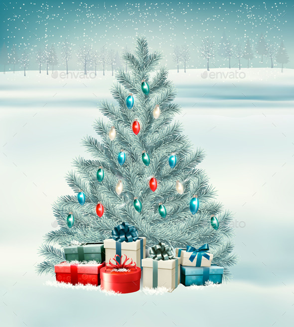 Christmas Tree with Presents Background - New Year Seasons/Holidays
