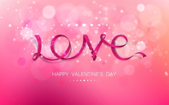 Love Pink Ribbon - Valentines Seasons/Holidays