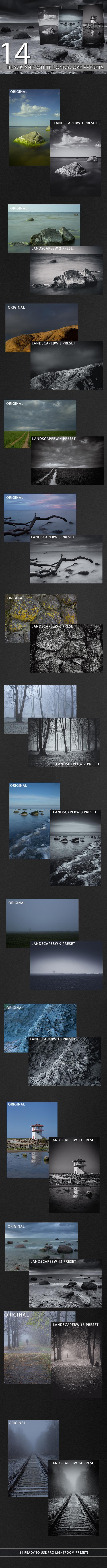 14 Black and White Landscape Presets - Black and white Lightroom Presets