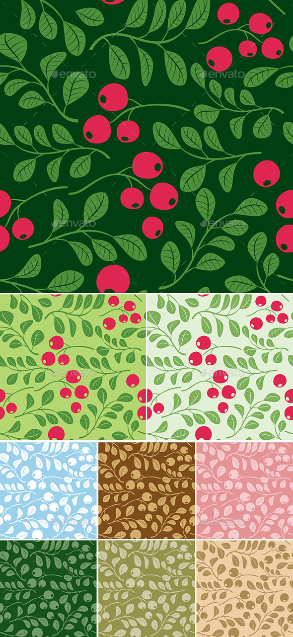 Floral Seamless Patterns with Berries - Patterns Decorative