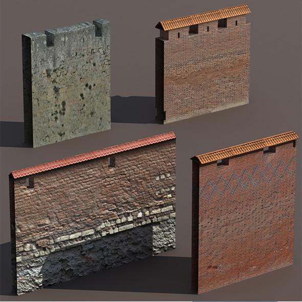 Castle Walls Low Poly 3d Model - 3DOcean Item for Sale