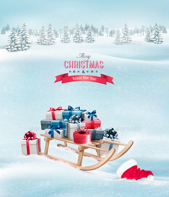 Christmas Presents on a Sleigh and a Santa Hat - Christmas Seasons/Holidays