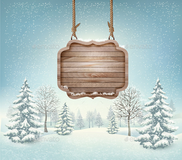 Winter Landscape with a Wooden Sign - Seasons/Holidays Conceptual