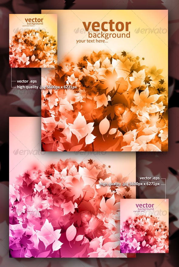 Vector autumn backgrounds with fallen leaves - Backgrounds Decorative