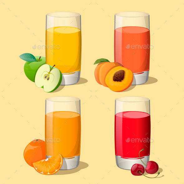 Set of Juices in Glass - Food Objects