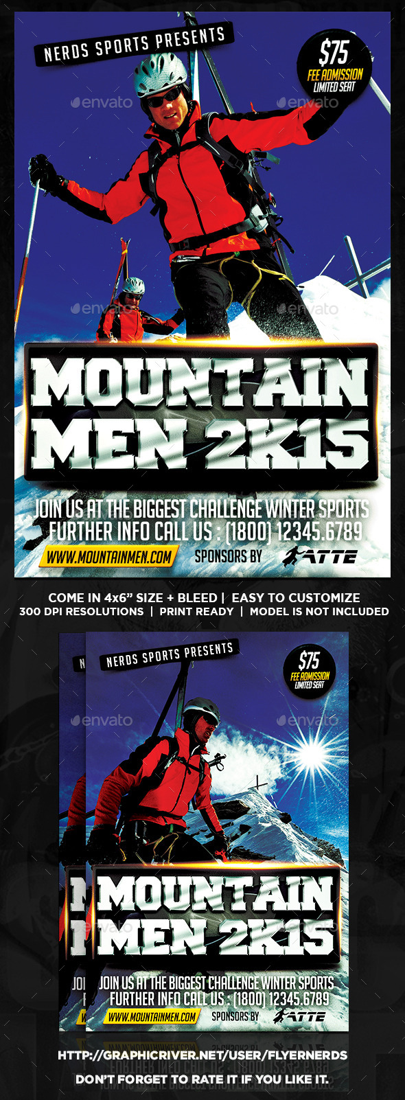 The Mountain Men Extreme Sports Flyer - Sports Events