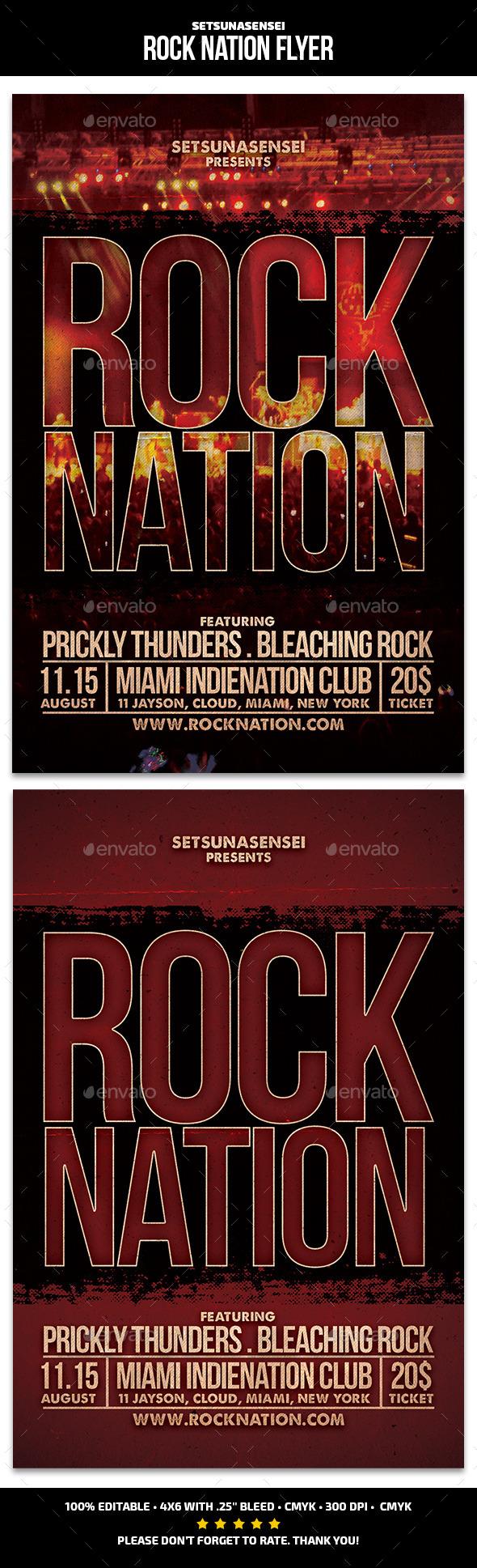 Rock Nation Flyer - Concerts Events