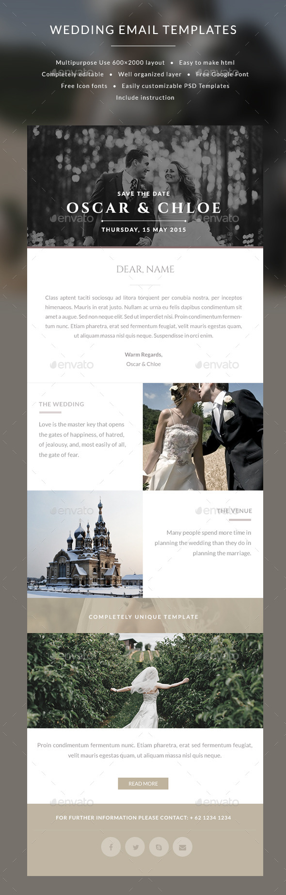 Email Wedding Invitation templates - Oscar - E-newsletters Web Elements