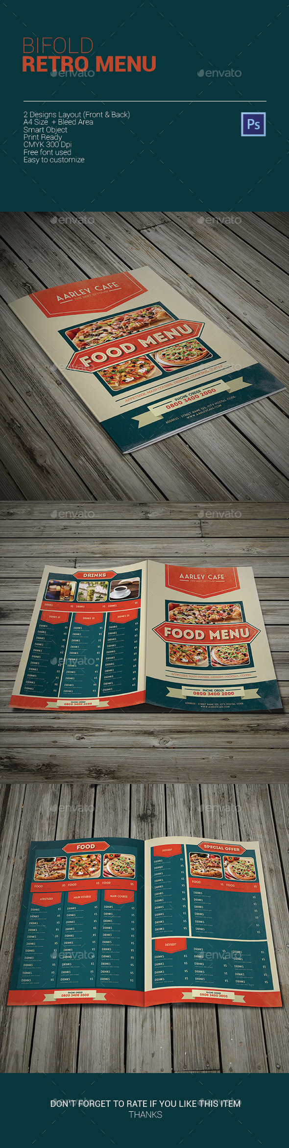 Bifold Retro Menu - Food Menus Print Templates