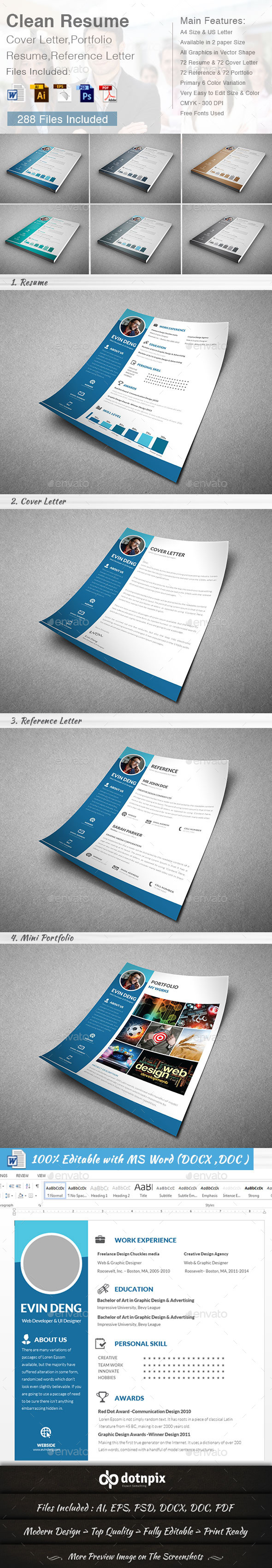 Clean Resume (4 in 1) - Resumes Stationery