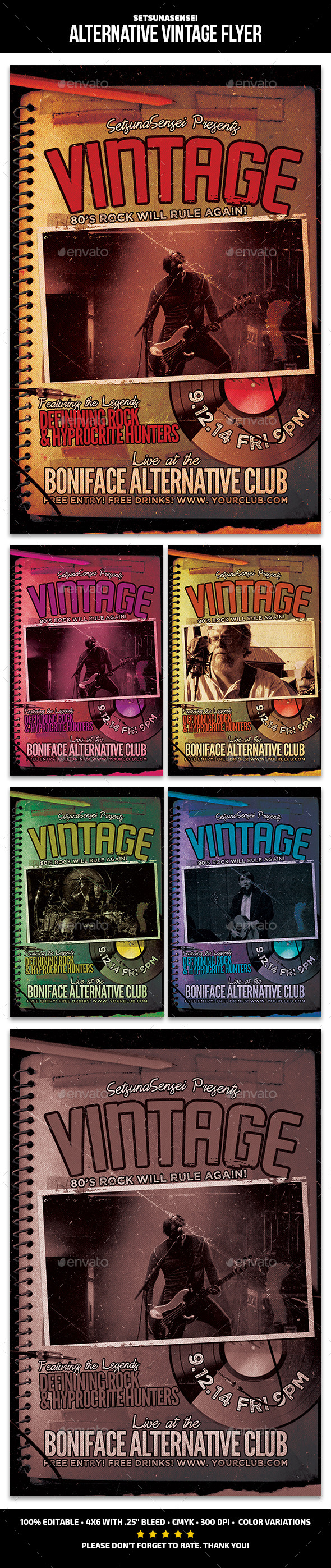 Alternative Vintage Flyer - Concerts Events
