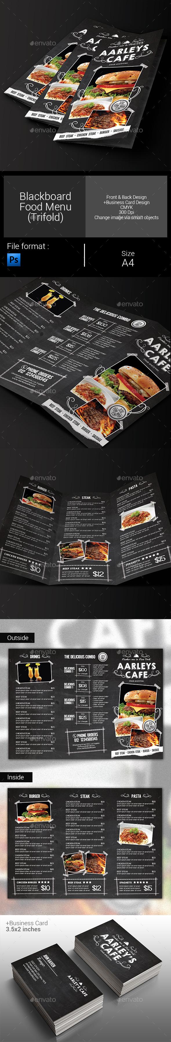 Blackboard Food Menu (Trifold) + Business Card - Food Menus Print Templates