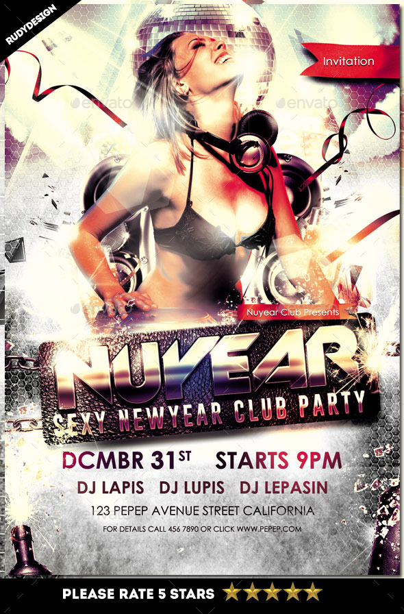 Nuyear New Year DJ Party Flyer Template - Clubs & Parties Events