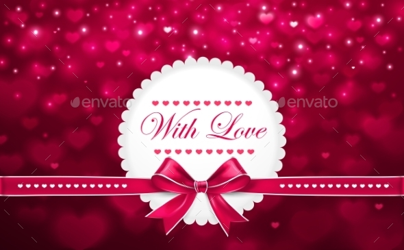 Background for Valentine's Day with Bow - Valentines Seasons/Holidays