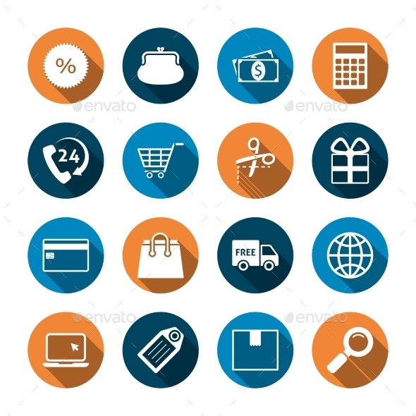 Shopping Icons with Shadow - Business Icons