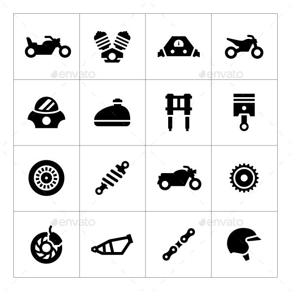 Set Icons of Motorcycle - Man-made objects Objects