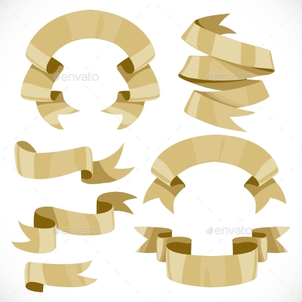 Set of Festive Golden Ribbons Various Forms - Objects Vectors