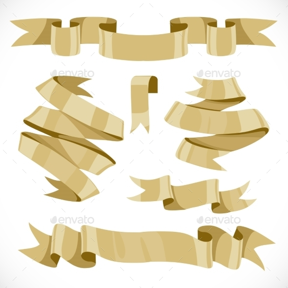 Set of vector festive golden ribbons various forms - Objects Vectors