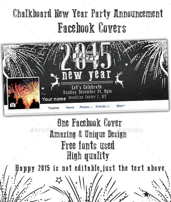 New Year Party Announcement Facebook Cover - Facebook Timeline Covers Social Media