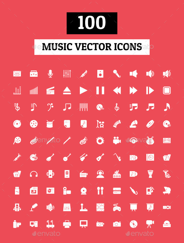 100 Music Vector Icons - Media Icons