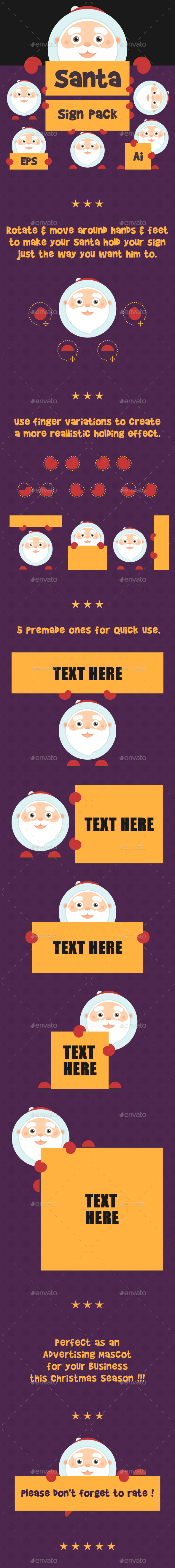 Cute Santa Mascot Sign Holding Creation Kit - People Characters
