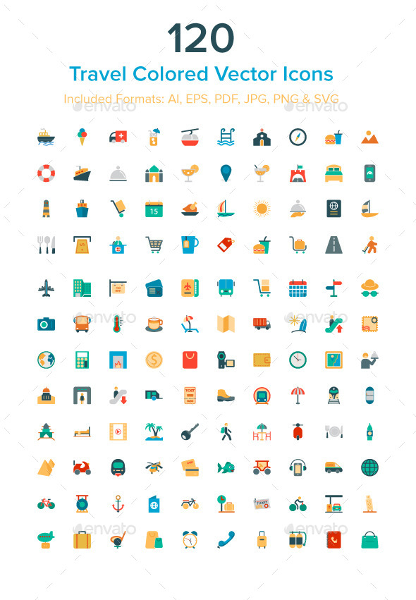 120 Travel Colored Vector Icons - Objects Icons