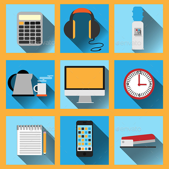 Set of 9 Vector Office Icons - Man-made objects Objects