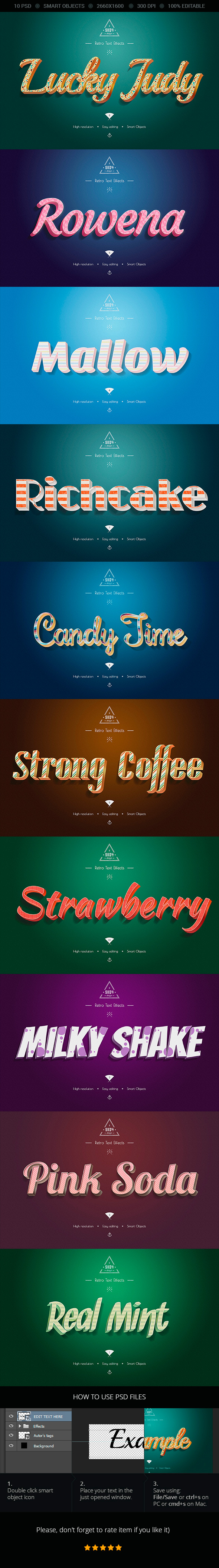 Sweet Colorful Text Effects - 10 PSD - Text Effects Actions