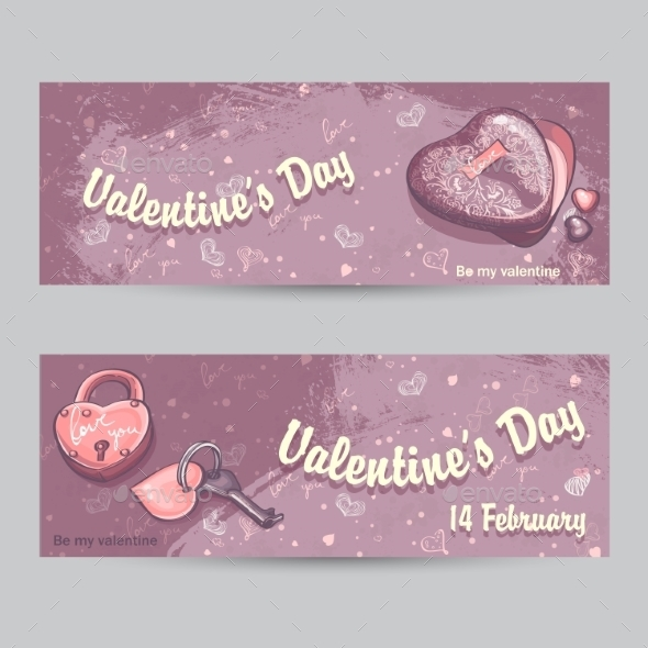 Set of Horizontal Greeting Cards for Valentine's Day - Decorative Symbols Decorative
