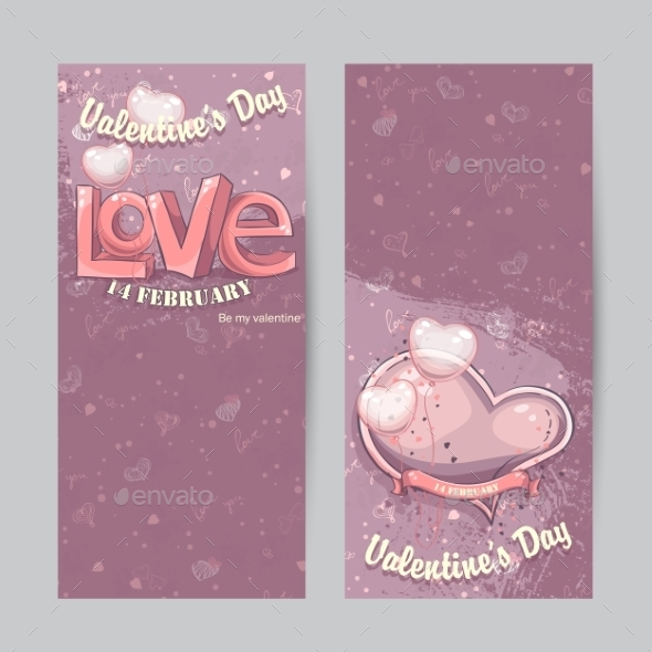 Set of Vertical Cards for Valentine's Day - Valentines Seasons/Holidays