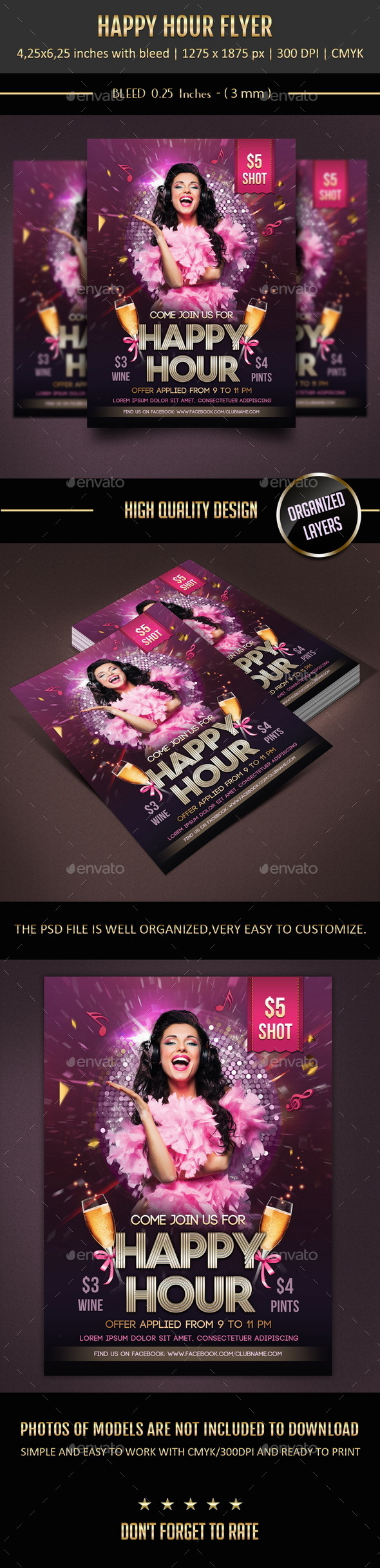 Happy Hour Flyer - Events Flyers
