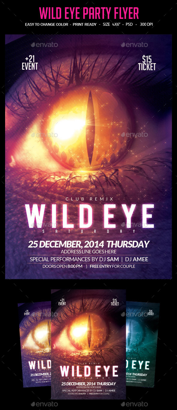 Wild Eye Party Flyer - Clubs & Parties Events