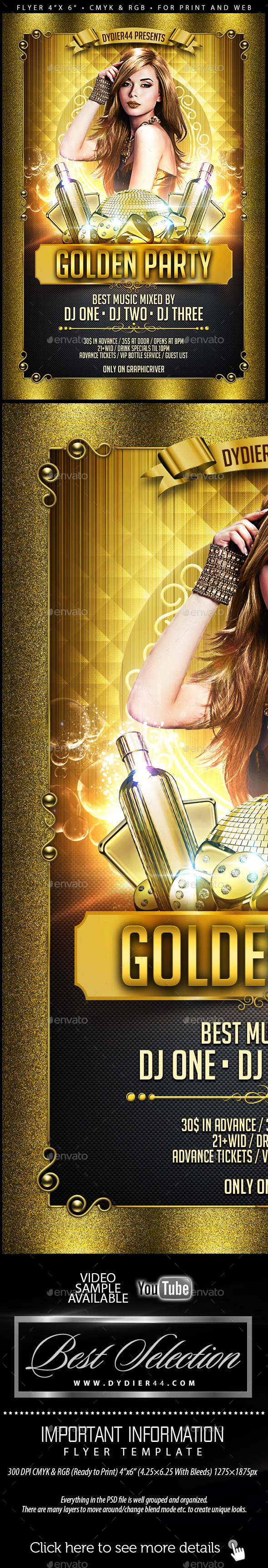 Golden Party (Flyer Template 4x6) - Clubs & Parties Events