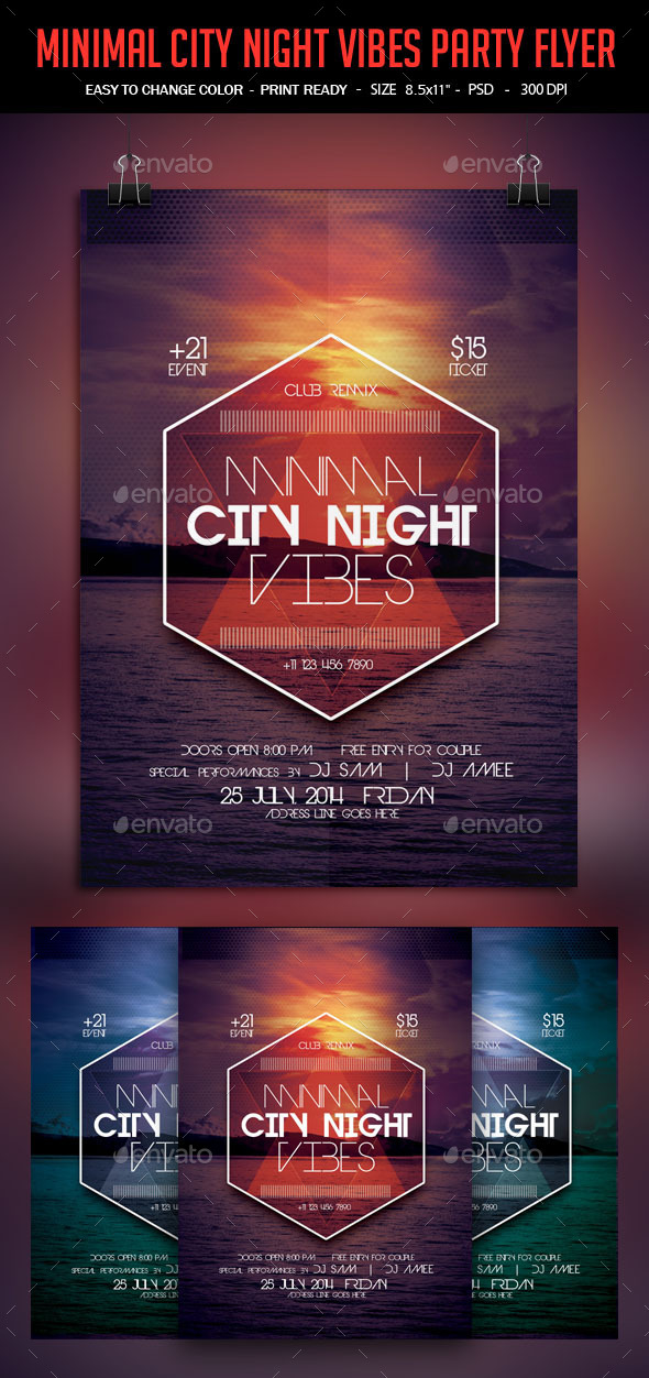 Minimal City Night Vibes Poster - Clubs & Parties Events