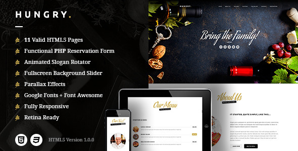 Hungry – A One-Page HTML Restaurant Template