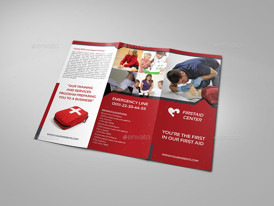hiv aids brochure templates - first aid training tri fold brochure template by