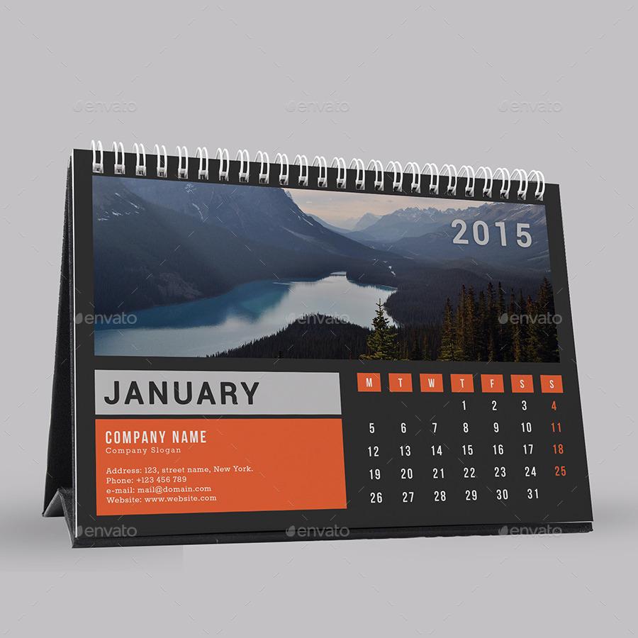 Simple Desk Calendar 2015 by ushihab1989 | GraphicRiver