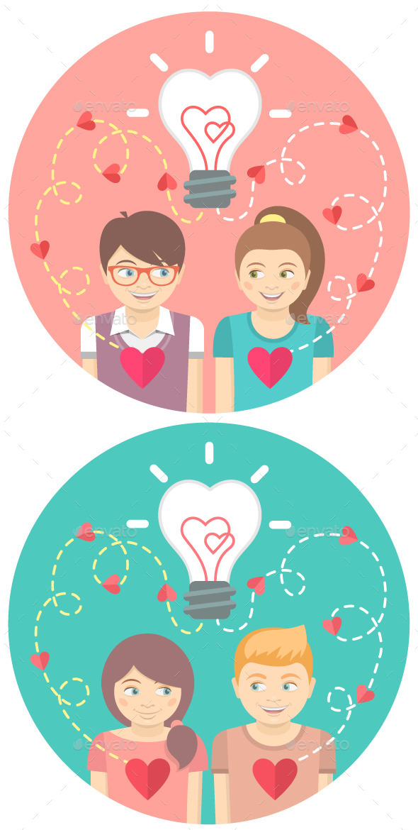Couples in Love with a Light Bulb in a Circles  - Valentines Seasons/Holidays