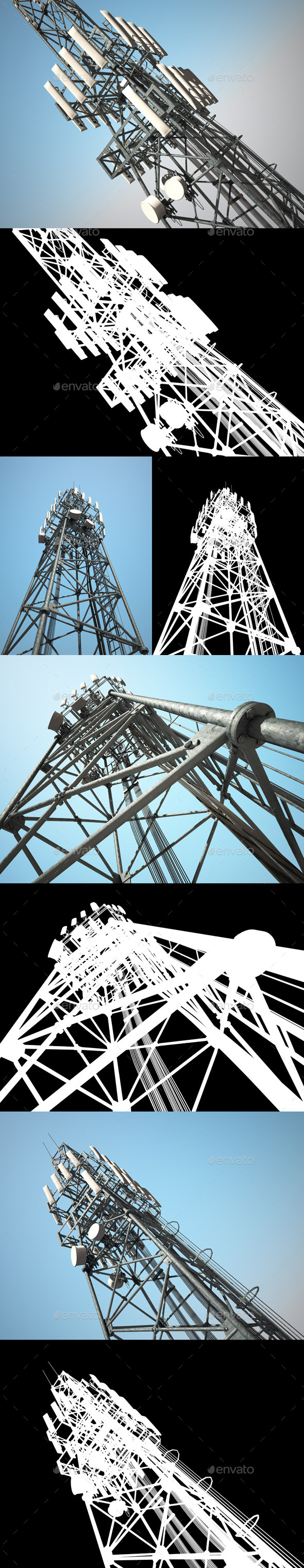 Telecommunications Tower Pack - Technology 3D Renders