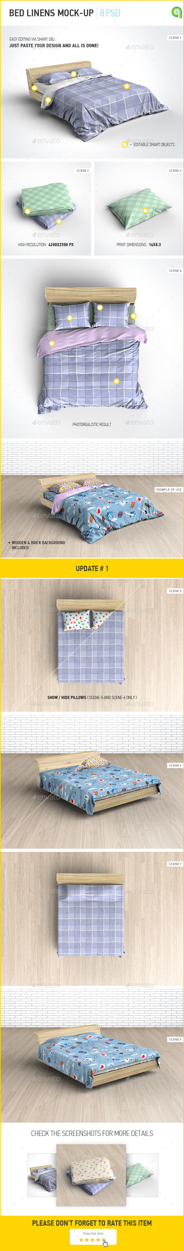 Bed Linens Mock-Up / Bedding Set Template - Miscellaneous Product Mock-Ups