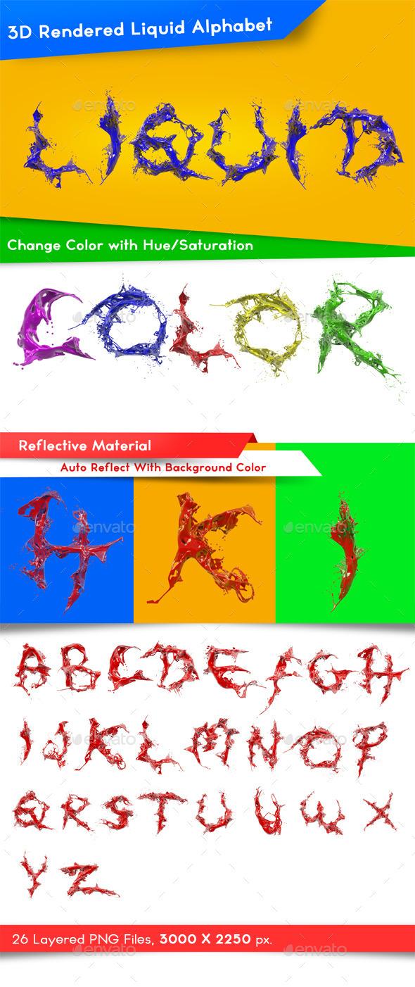 Liquid Alphabet - Characters 3D Renders