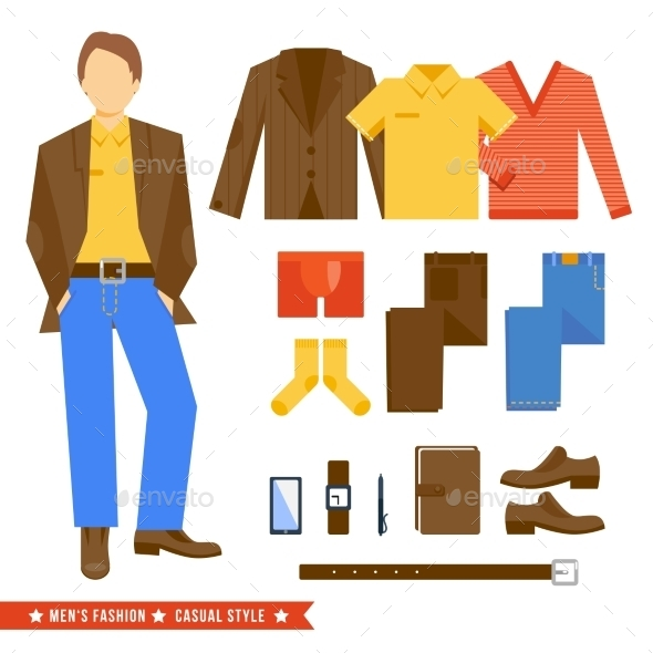 Business Man Clothes Icons - Objects Vectors
