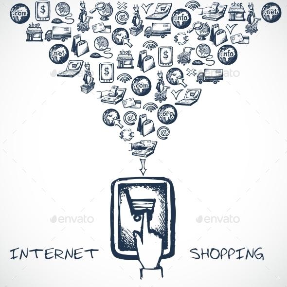 Internet Shopping Sketch Concept - Backgrounds Decorative