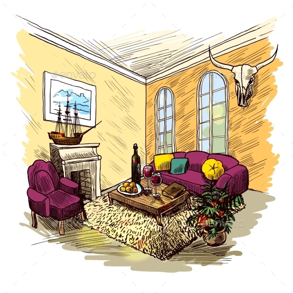 Room Sketch Color - Backgrounds Decorative