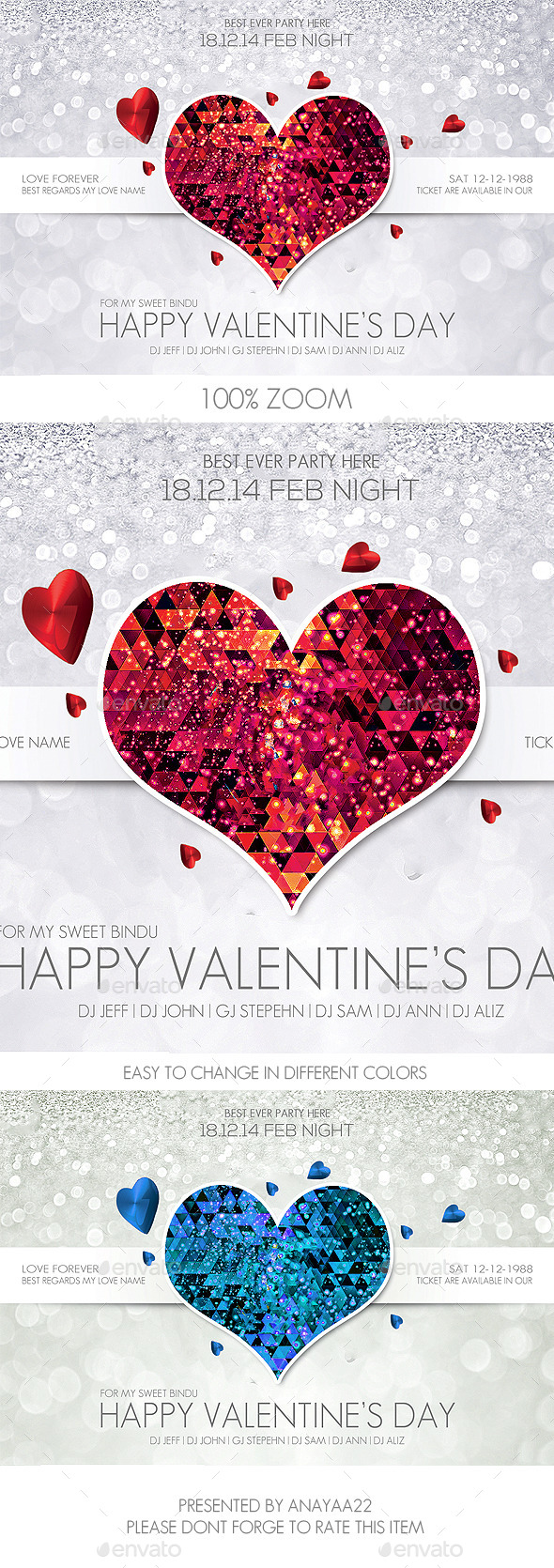 Valentine's Day Flyer Psd Template - Clubs & Parties Events