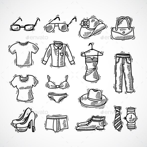 Fashion Icons Set - Objects Vectors