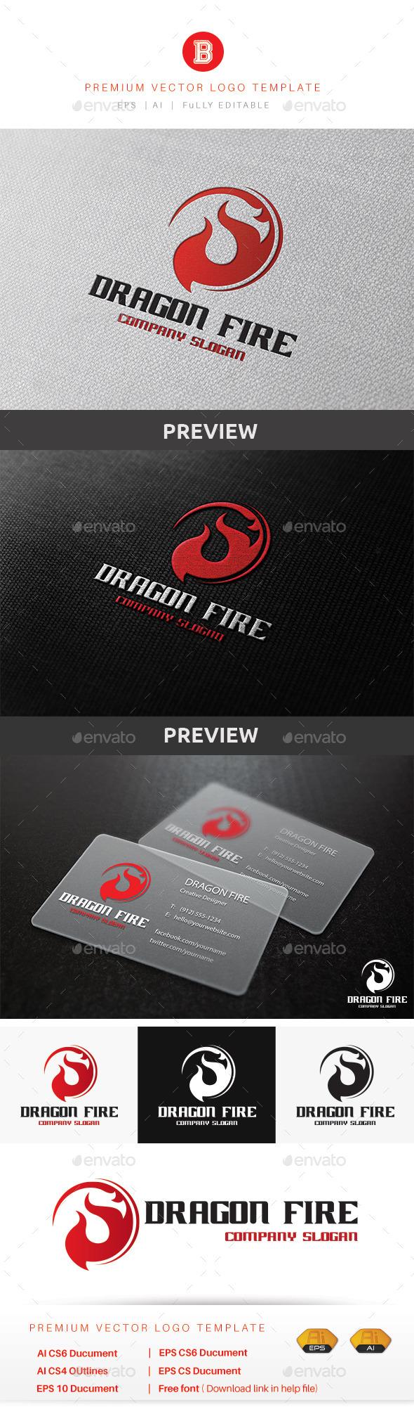 Dragon Fire - Animals Logo Templates