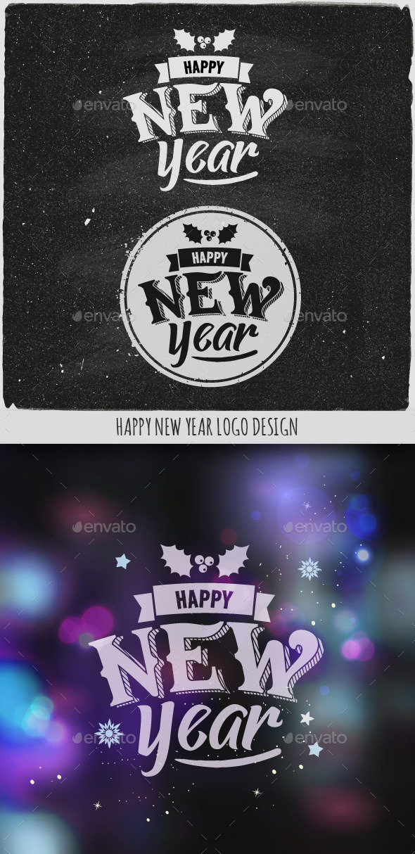 New Year Typographic Design Emblem - New Year Seasons/Holidays
